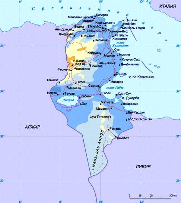карта джерба с курортами на русском языке